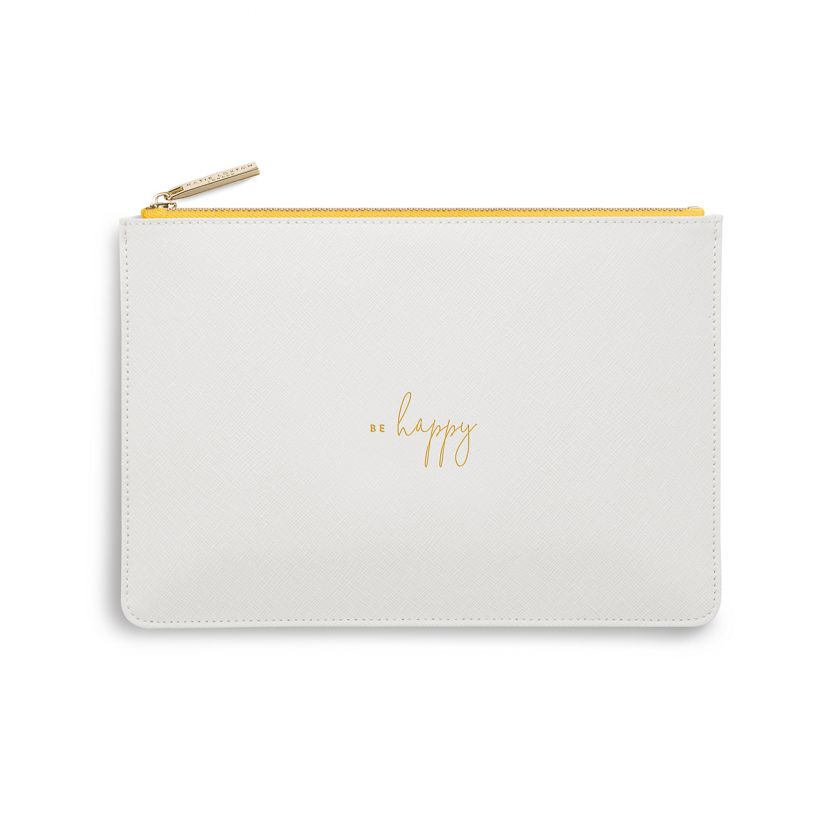 Katie Loxton NEW Perfect Pouch - 'Be Happy' White/Yellow