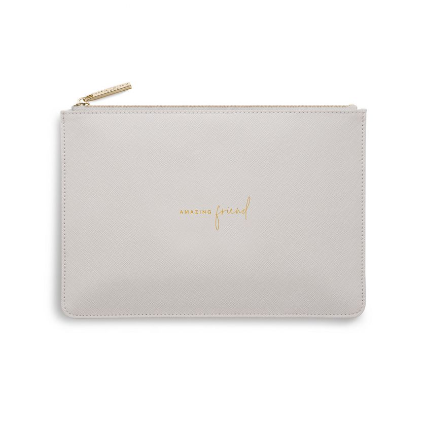 Katie Loxton Perfect Pouch - 'Amazing Friend' Pale Grey