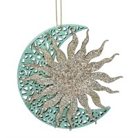 Gisela Graham Christmas Decoration Celestial - Sun on Moon Turq/Gold 17103