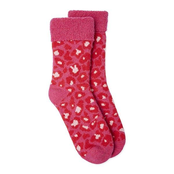 Somerville Slipper Socks - Leopard Red/Pink