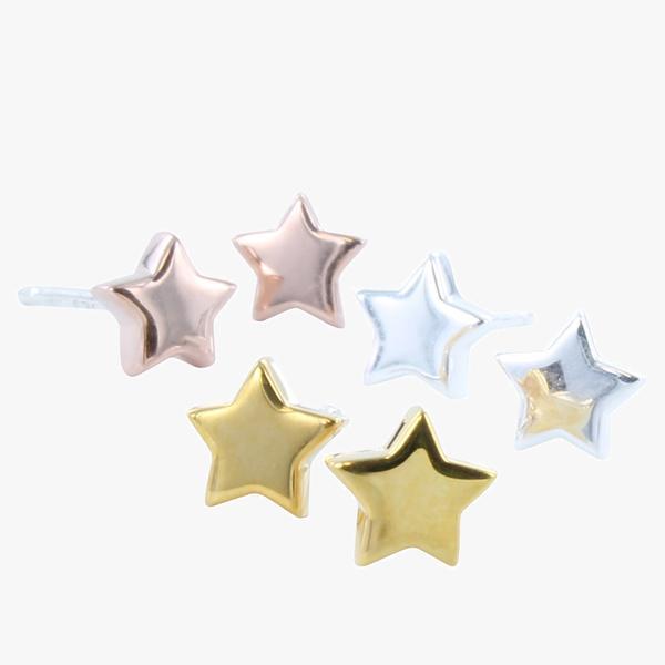 Stud Earrings Star - Rose Gold Plate on Sterling Silver SGB50RG