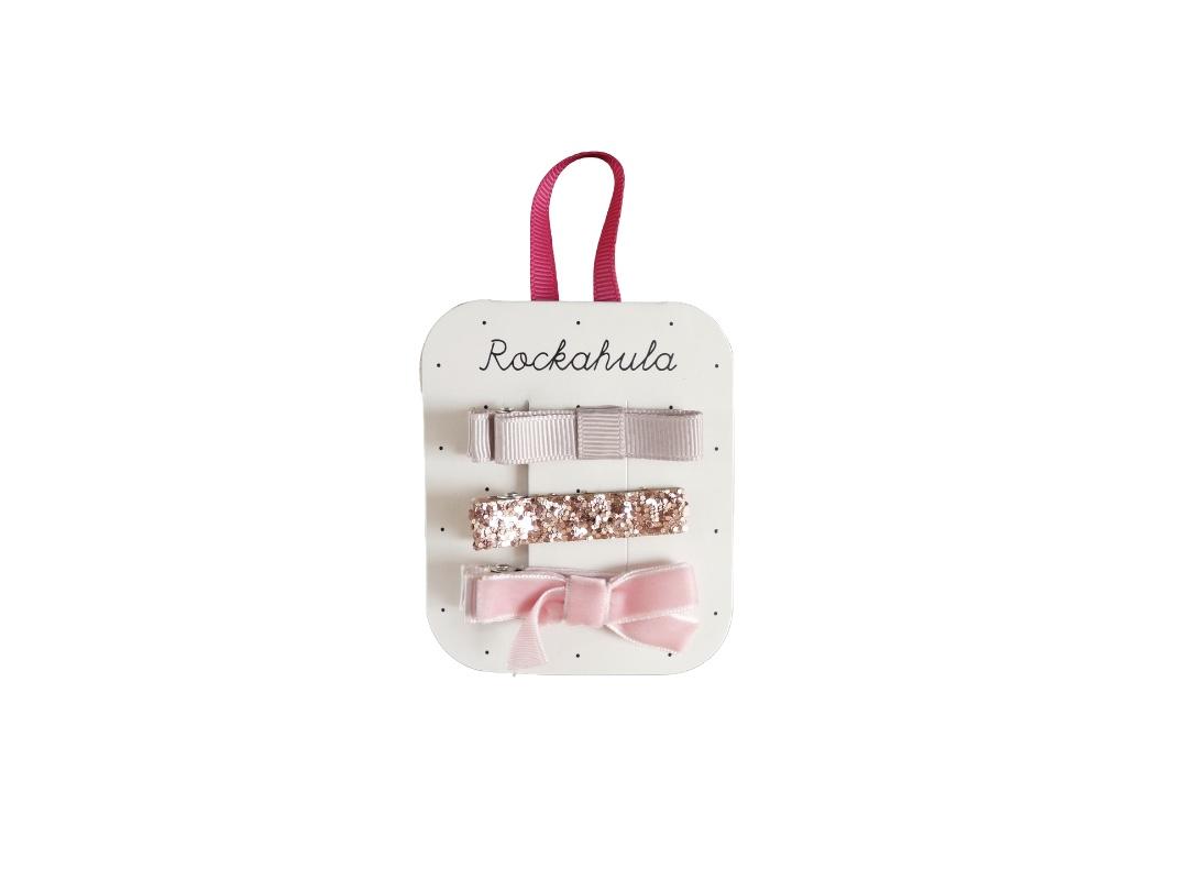 Rockahula Velvet and Glitter Hair Clips ( Set of 3 - pink/rose gold/ plain rose)
