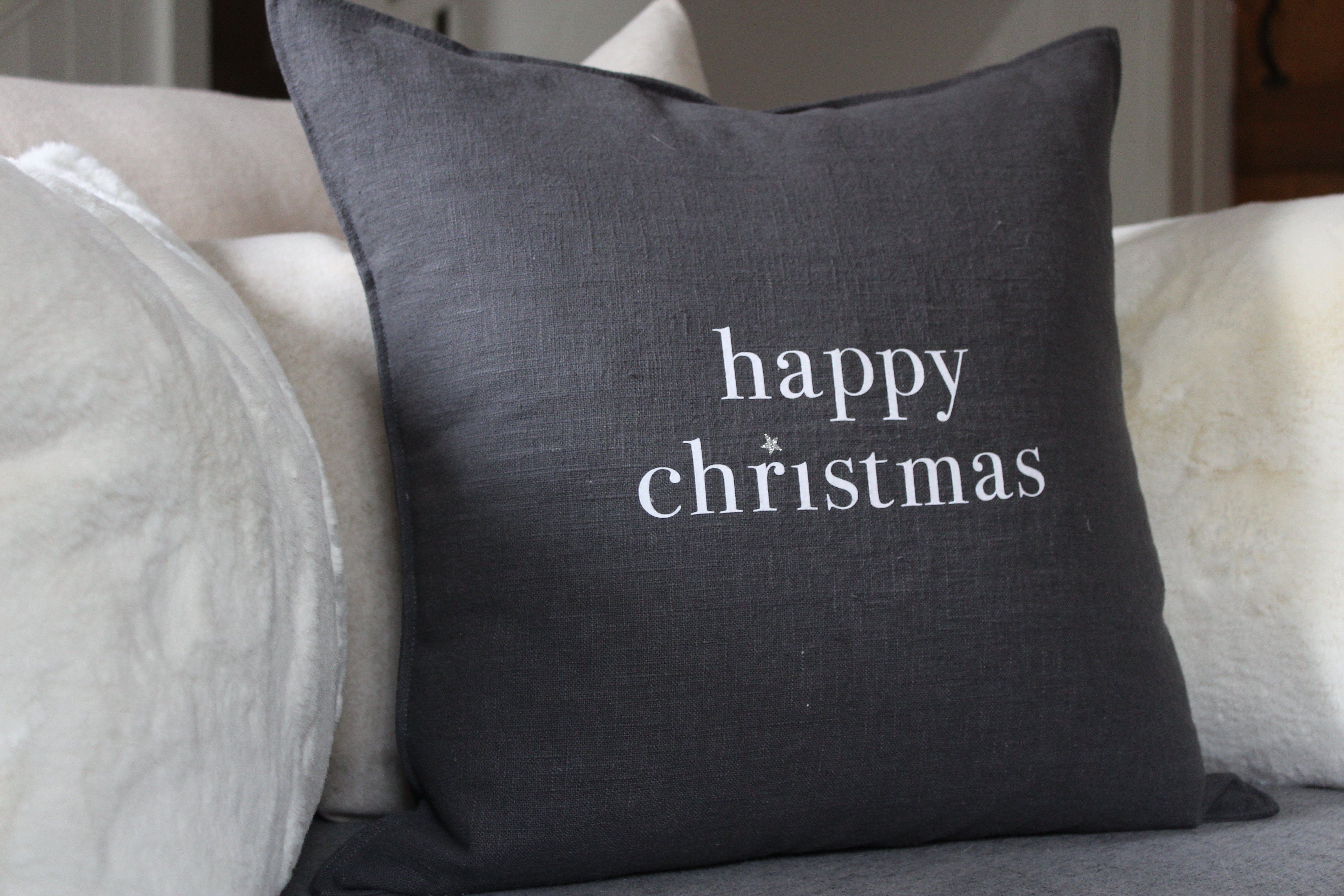 Chalk Cushion - Happy Christmas Square Pink or Charcoal WAS £35