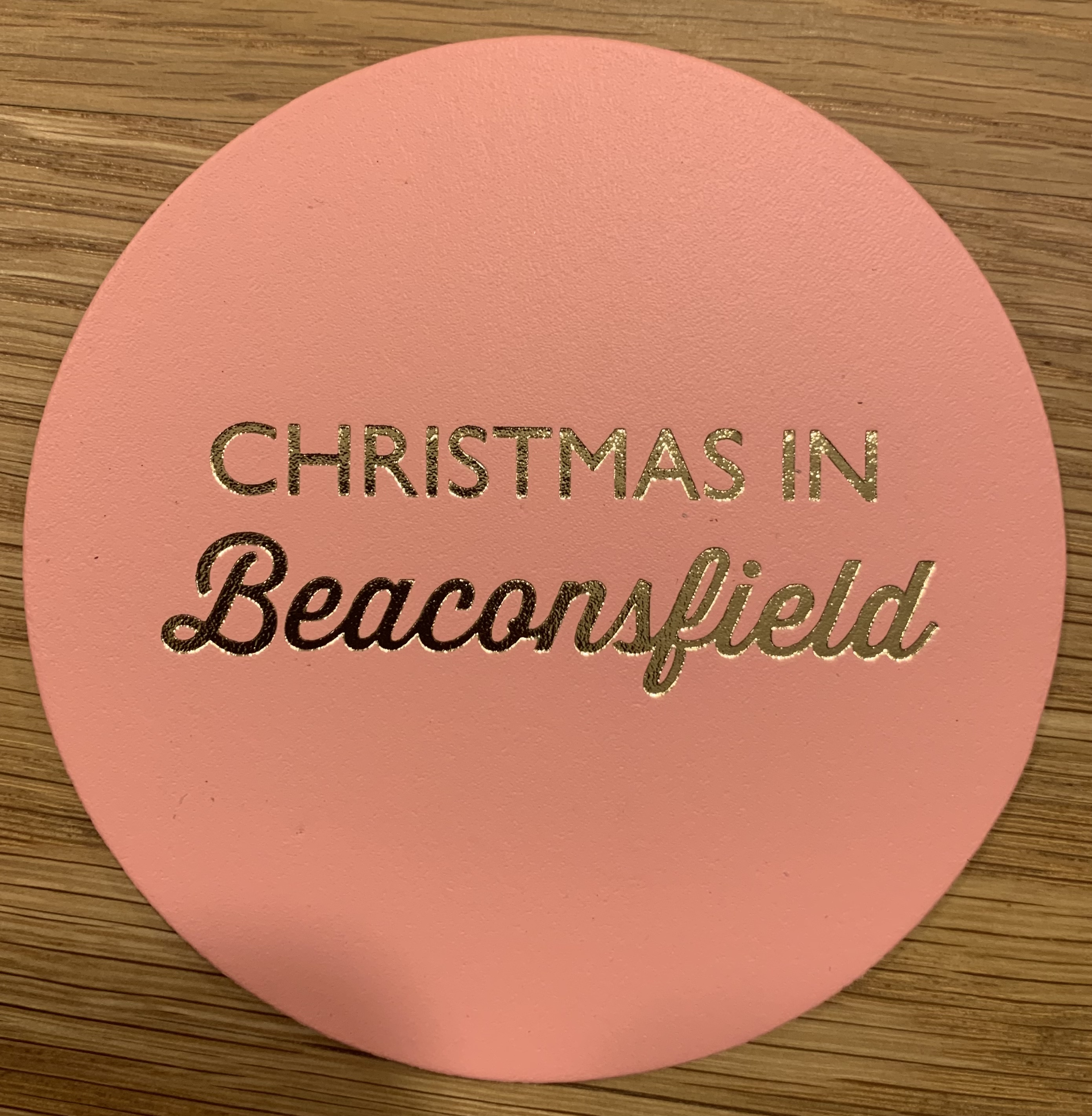 Leather Coaster - Christmas in Beaconsfield Pink