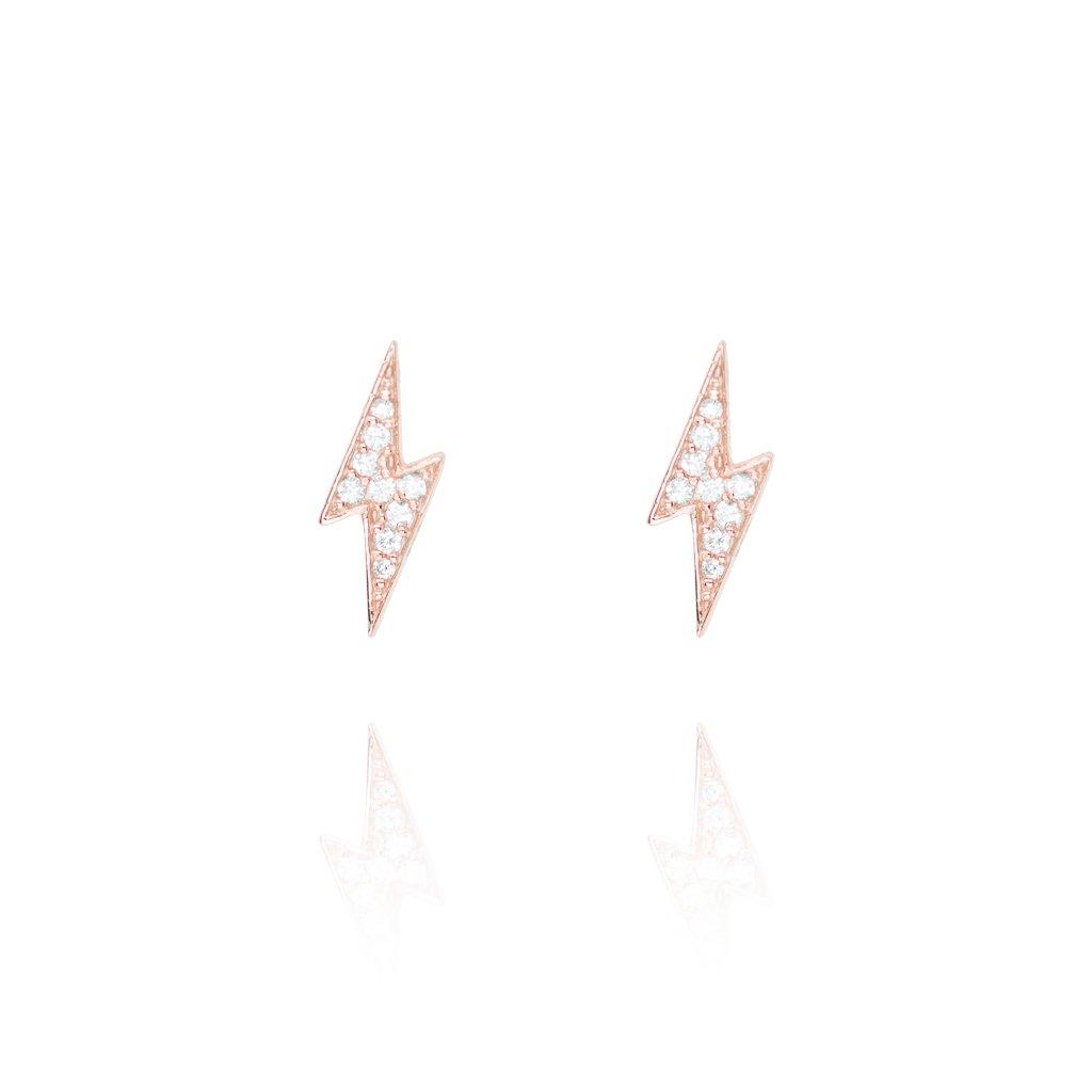 Stud Earrings Pave Lightening - Rose Gold Plate on Sterling Silver EG-14/R