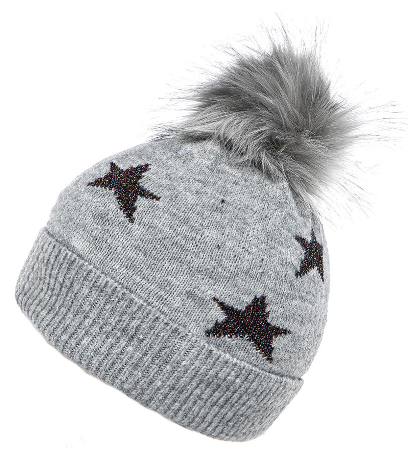 Bobble Hat - Star Design in Grey/Lurex