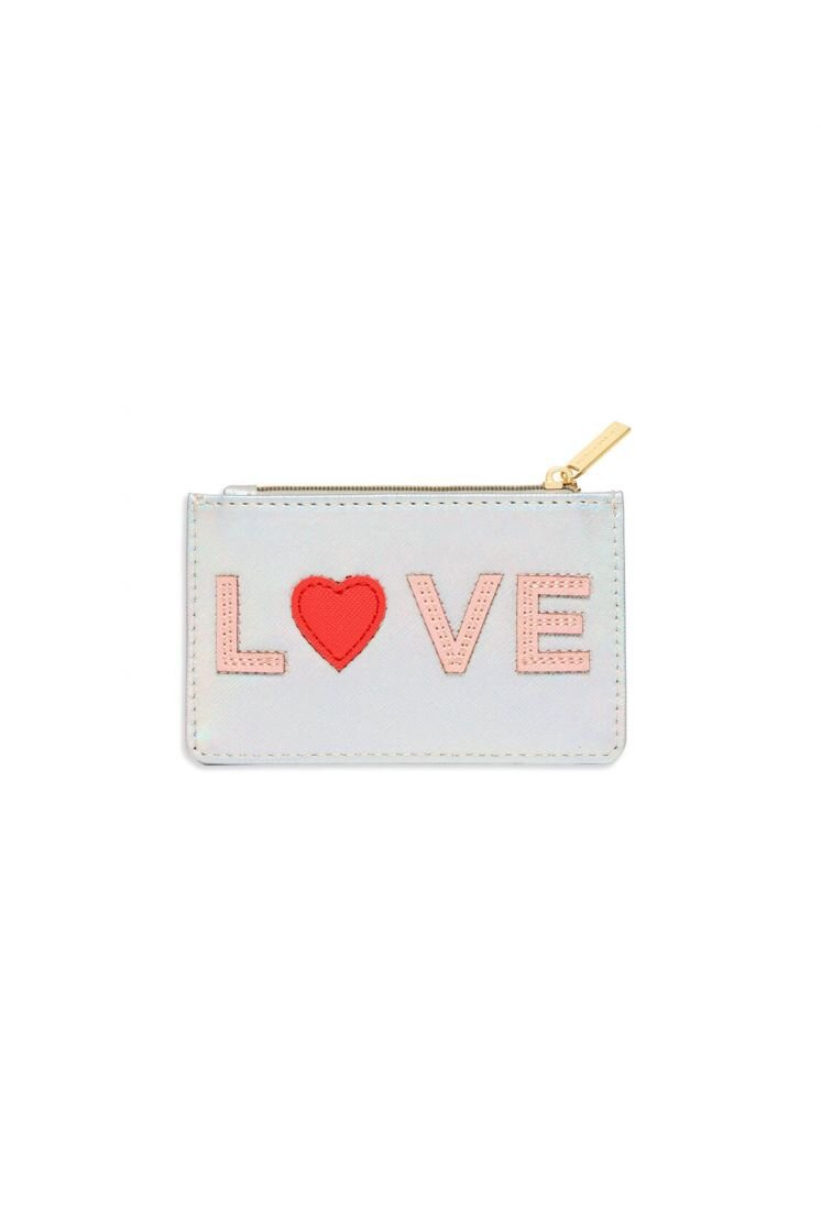 Estella Bartlett Card Holder - Applique' LOVE ' Iridescent Silver /Blush/Coral