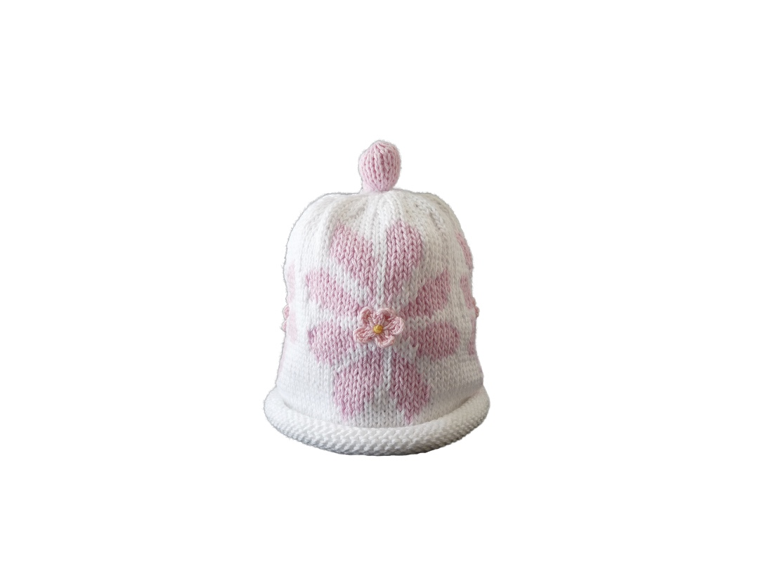 Baby Hat - Daisy Pink and White