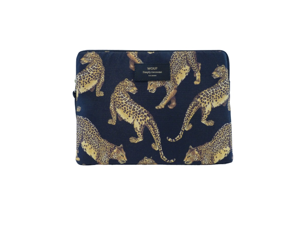 Wouf Laptop Sleeve - Black Leopard
