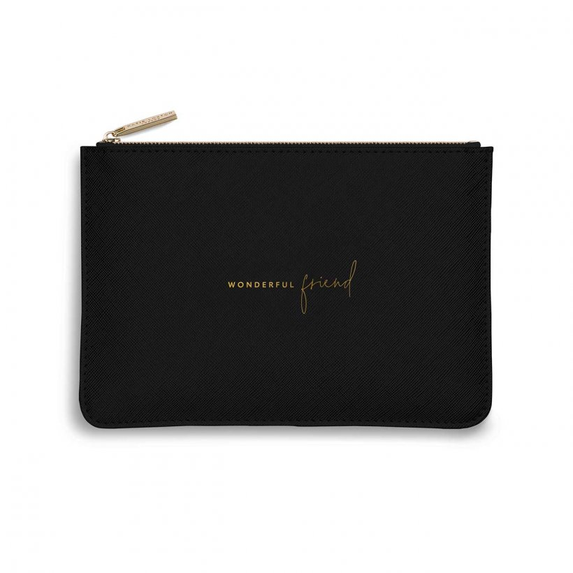 Katie Loxton Perfect Pouch - 'Wonderful Friend' Black