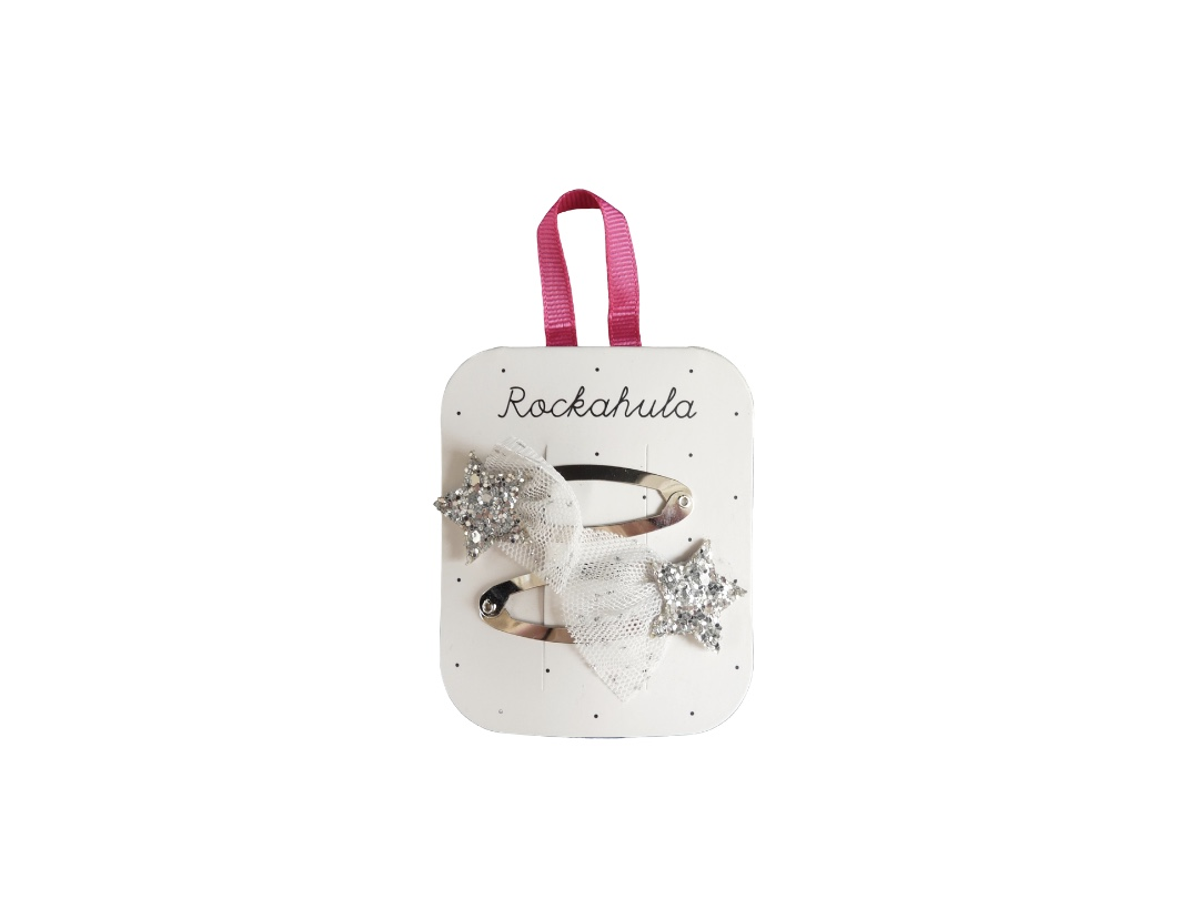 Rockahula Small Glitter Shooting Star Clips (2) - Silver