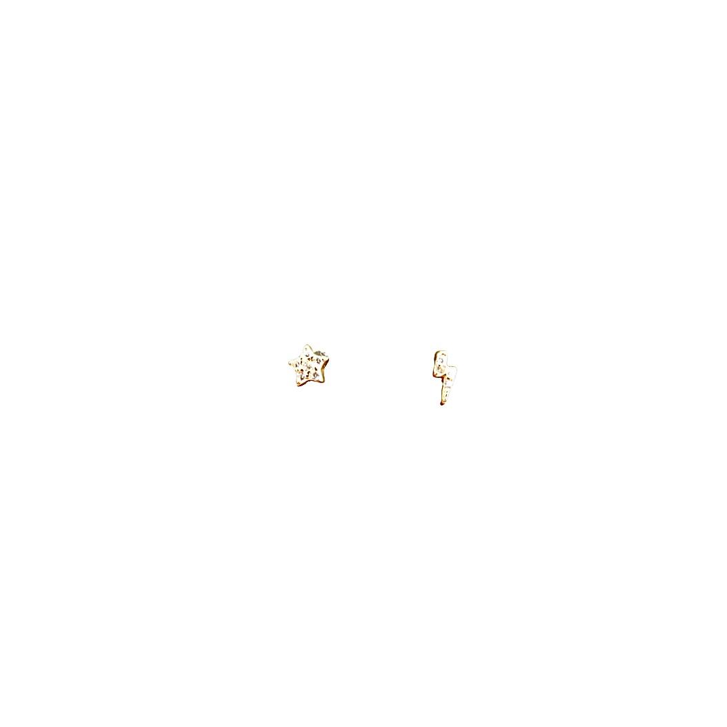Stud Earrings Sparkly Star & Lightening - Gold Plate on Sterling Silver EG-8/G