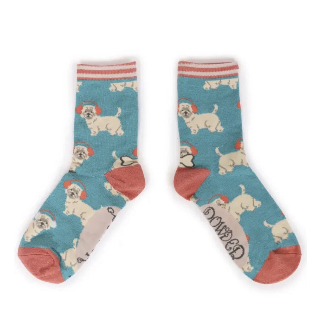 Powder Ankle Socks - Westie in Earmuffs