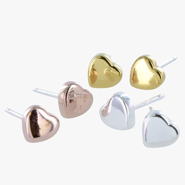 Stud Earrings Heart - Gold Plate on Sterling Silver SGB41G
