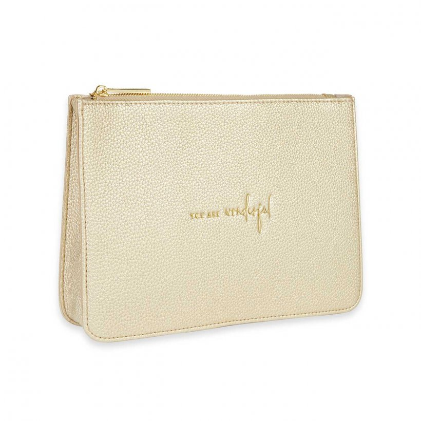 Katie Loxton Structured Pouch - You Are Wonderful Gold