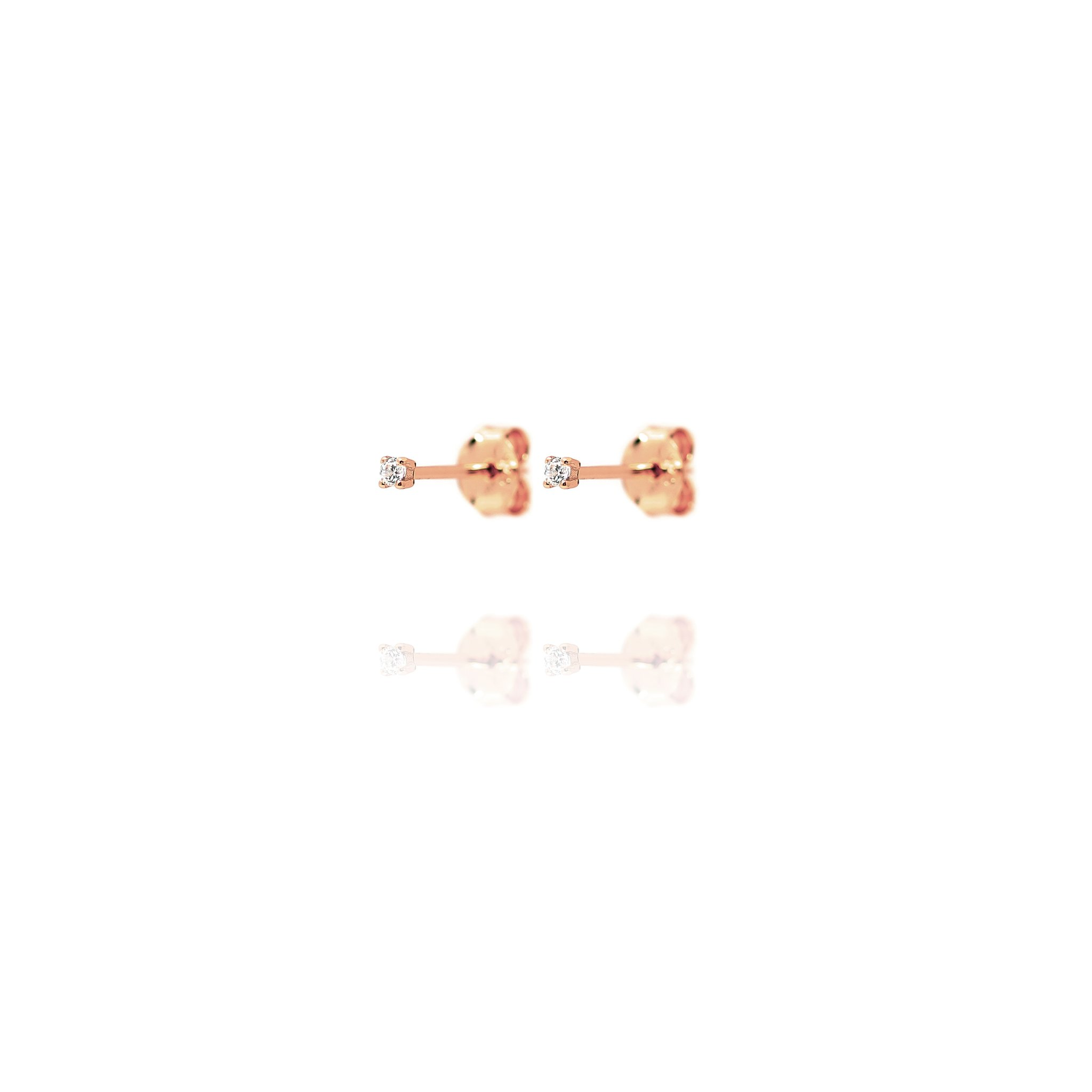 Stud Earrings Tiny Cubic Zirconia - Rose Gold Plate on Sterling Silver EG-5/R