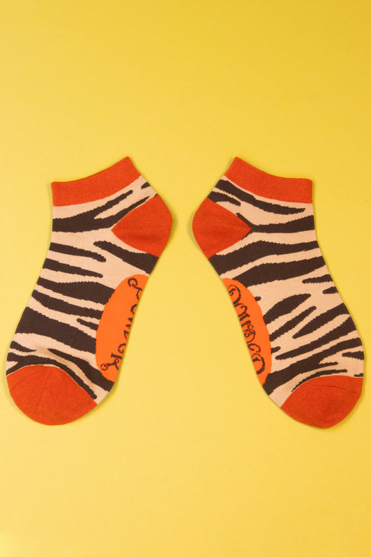Powder Trainer Socks - Zebra Print