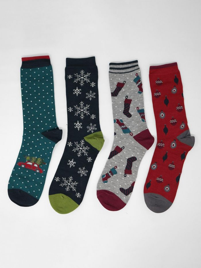 Mens Socks Thought Festive - Christmas Four Pairs in Gift Box
