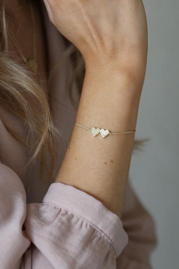 Tutti Bracelet Connect Double Heart - Gold