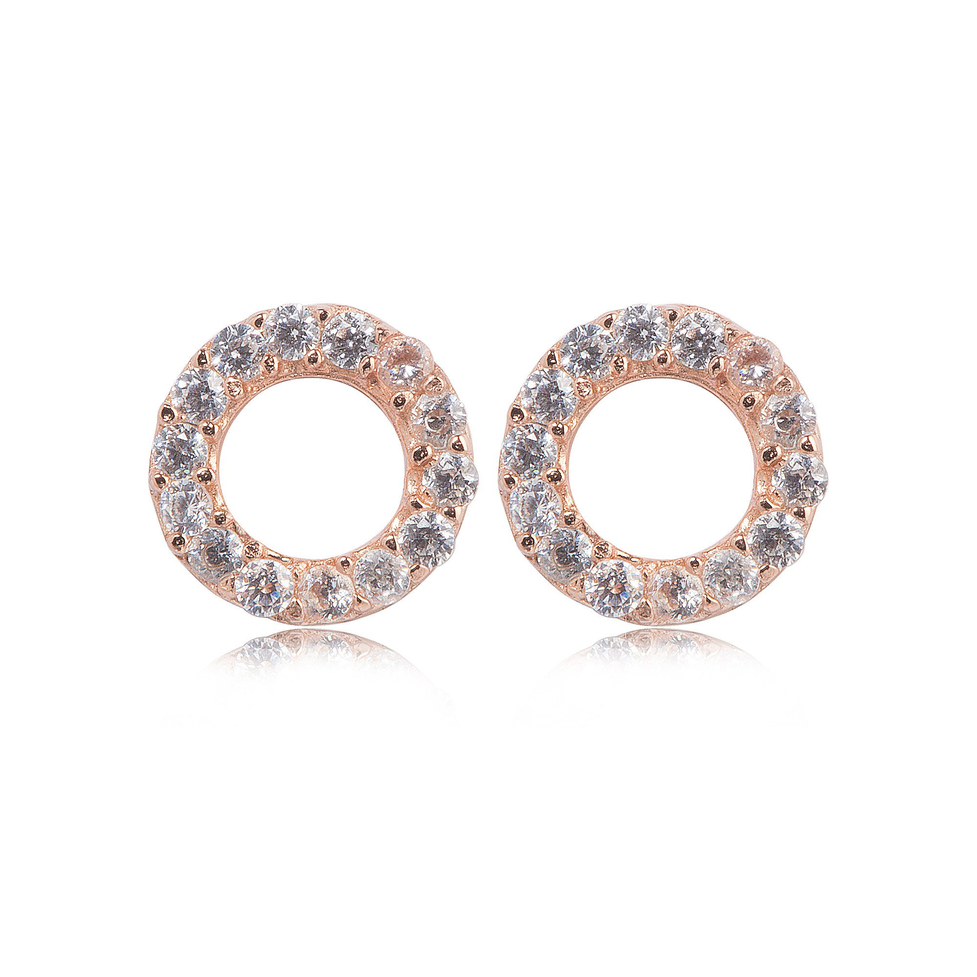 Stud Earrings Pave Open Circle CZ - Rose Gold Plated Sterling Silver EG-45/R