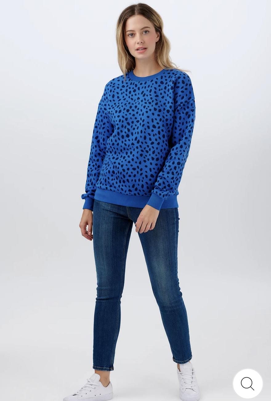 NEW Sugarhill Brighton Noah Sweatshirt - Animal Spot Mid Blue/Black