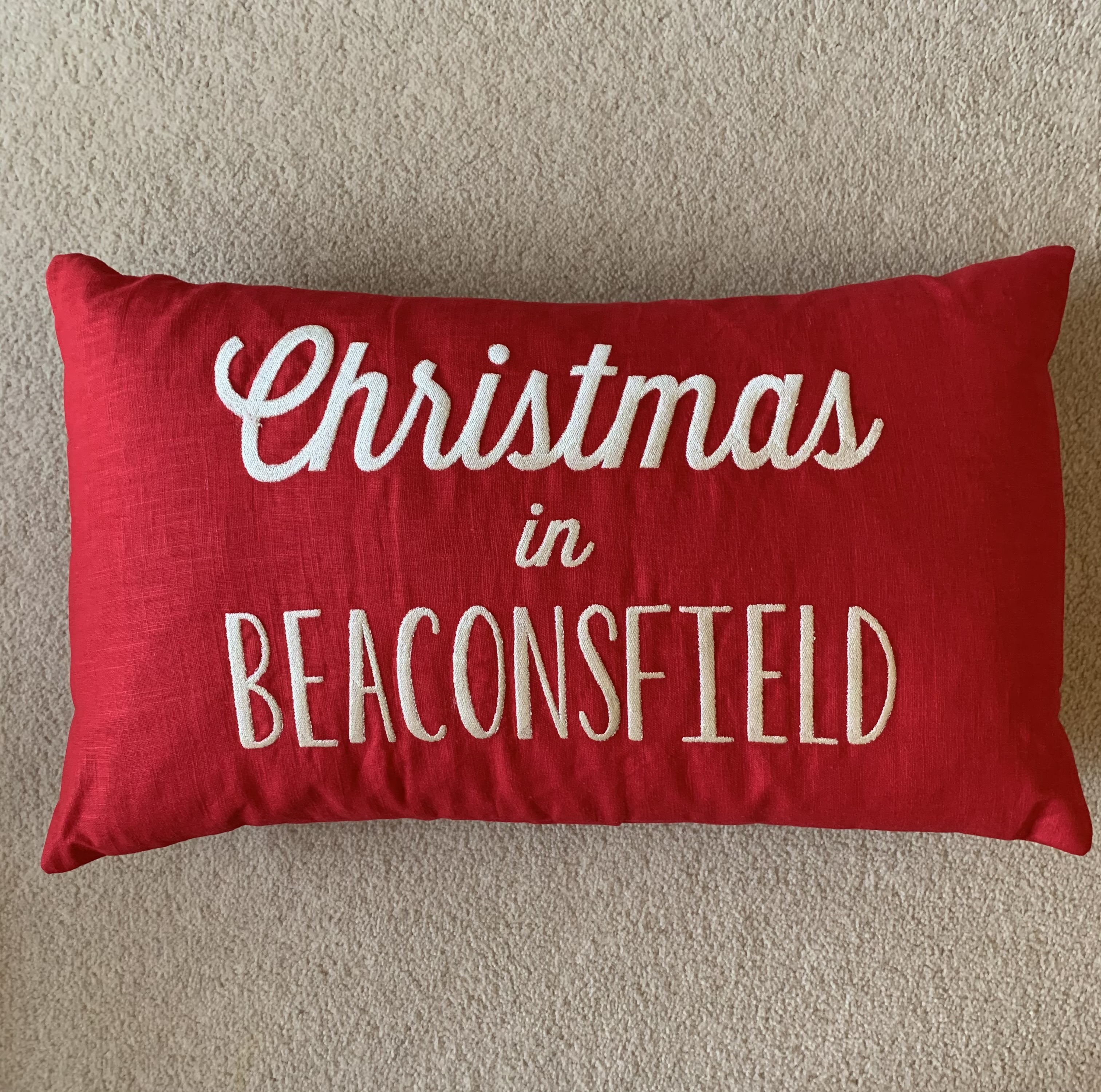 Beaconsfield Christmas Cushion Red Linen - Christmas in Beaconsfield