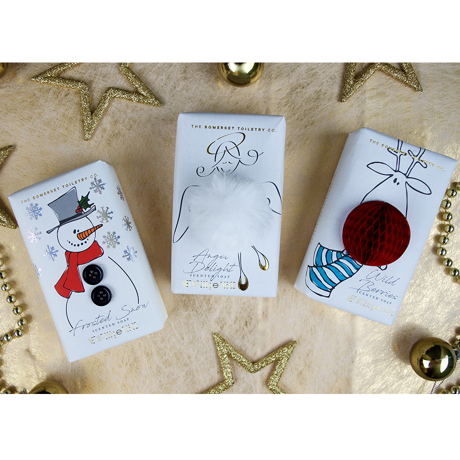 Somerset Toiletries Festive Soap Bars - Angel/ Reindeer/ Snowman