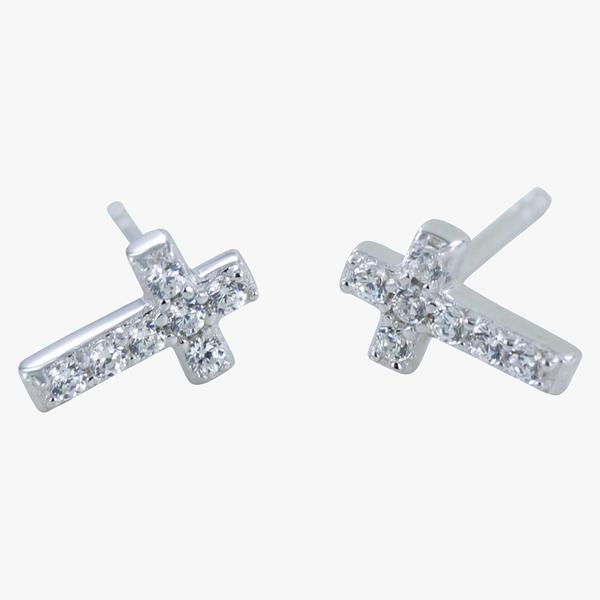 Stud Earrings CZ Cross - Sterling Silver DD52