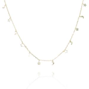 Necklace - Stars & Moons Gold Plate on Sterling Silver NG-29/G
