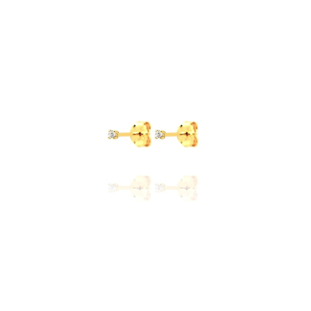 Stud Earrings Tiny Cubic Zirconia - Gold Plate on Sterling Silver EG-5/G