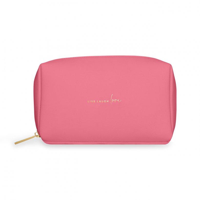 Katie Loxton Make Up Bag Small - Live Laugh Love Pink Colour Pop