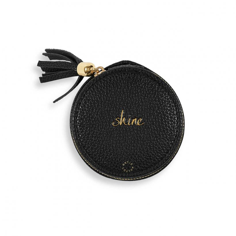 Katie Loxton Jewellery Box - 'Shine' Black Round