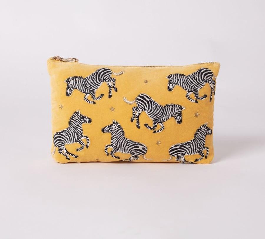 Elizabeth Scarlett - Travel Pouch Zebra Mustard Velvet