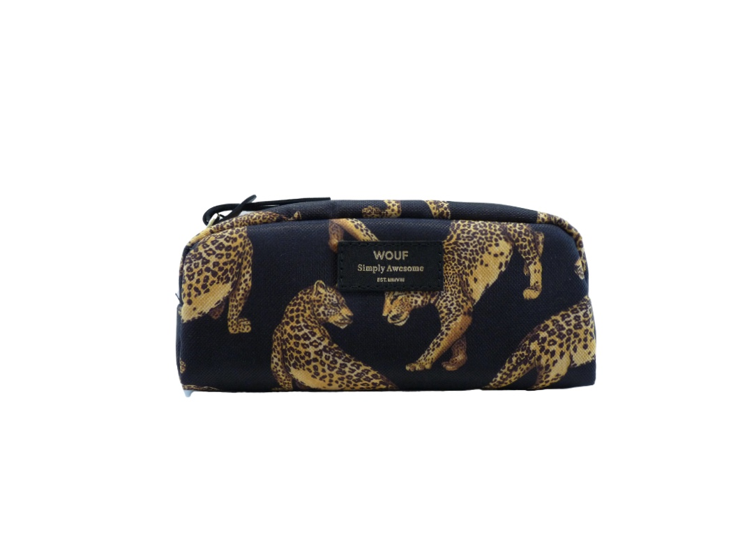 Wouf Make up Bag - Black Leopard Small
