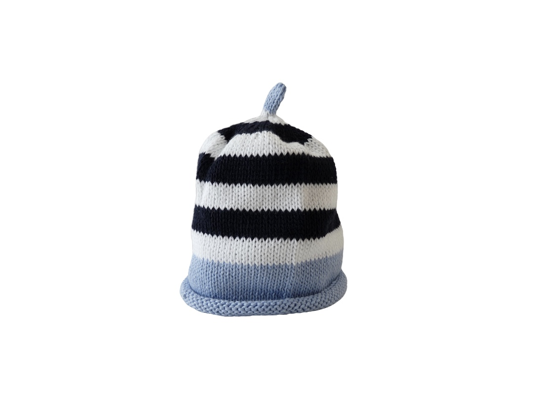 Baby Hat - Stripe Blue and White