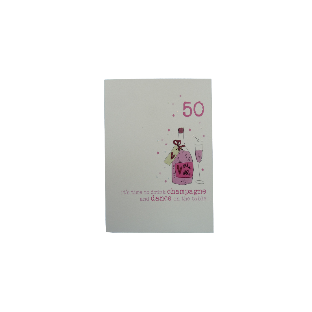 Card Age 50 Female - Champagne - Dandelion 161-50