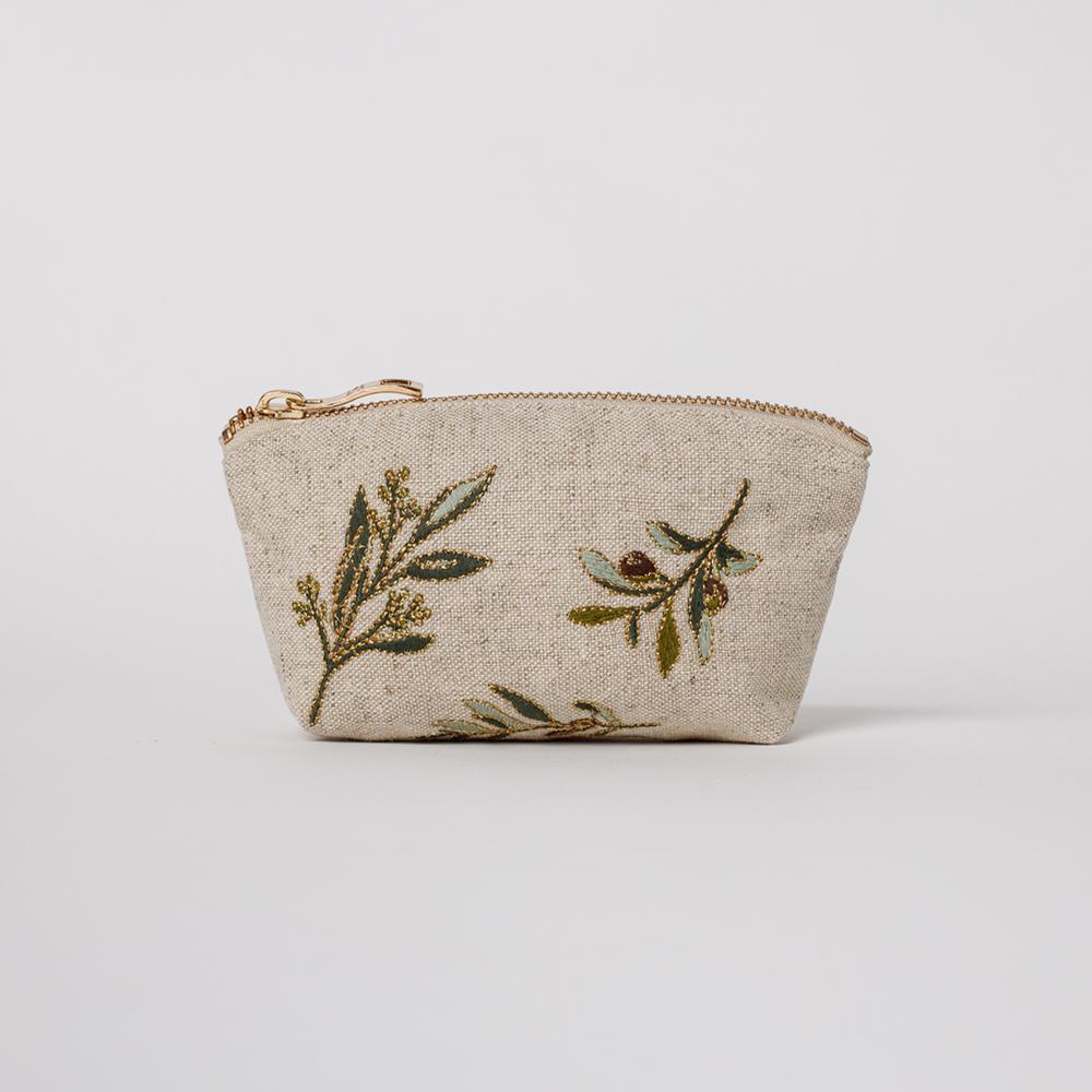 Elizabeth Scarlett - Coin Purse Olive Natural Linen
