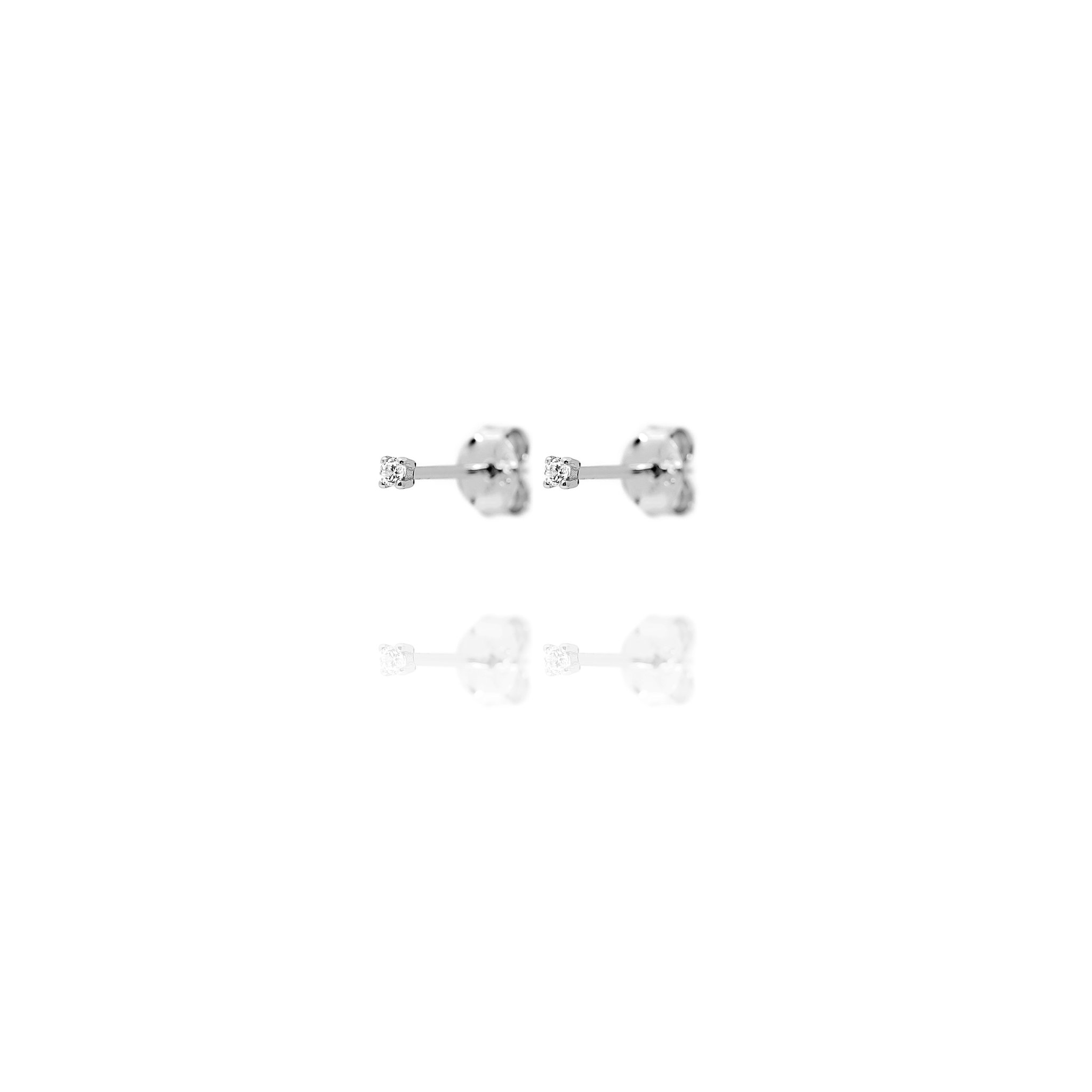 Stud Earrings Tiny Cubic Zirconia - Sterling Silver EG-5/S