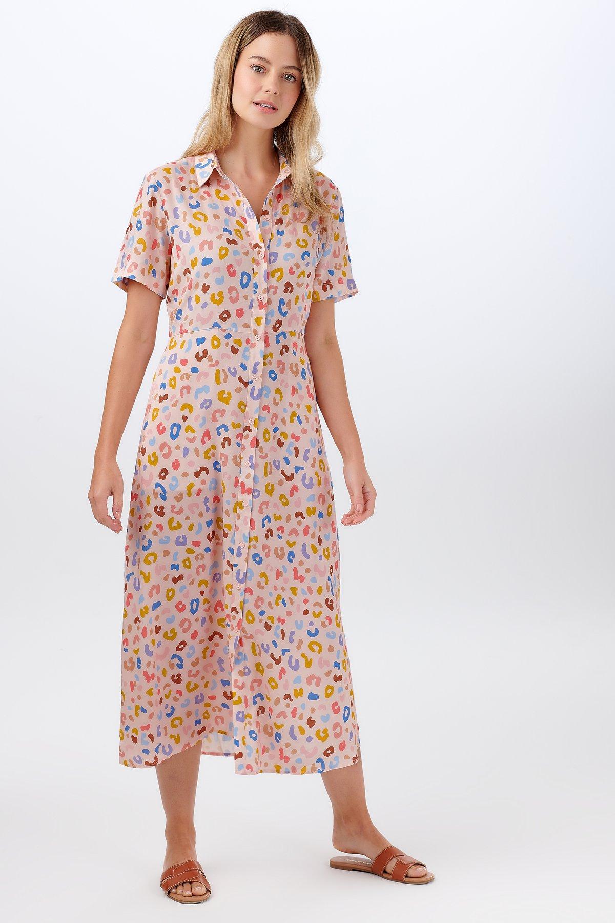 Sugarhill Brighton - Danielle Shirt Dress Pink Arthouse Leopard