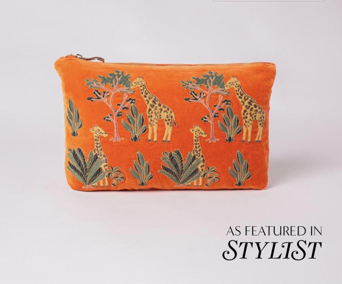 Elizabeth Scarlett - Travel Pouch Giraffe Orange Velvet
