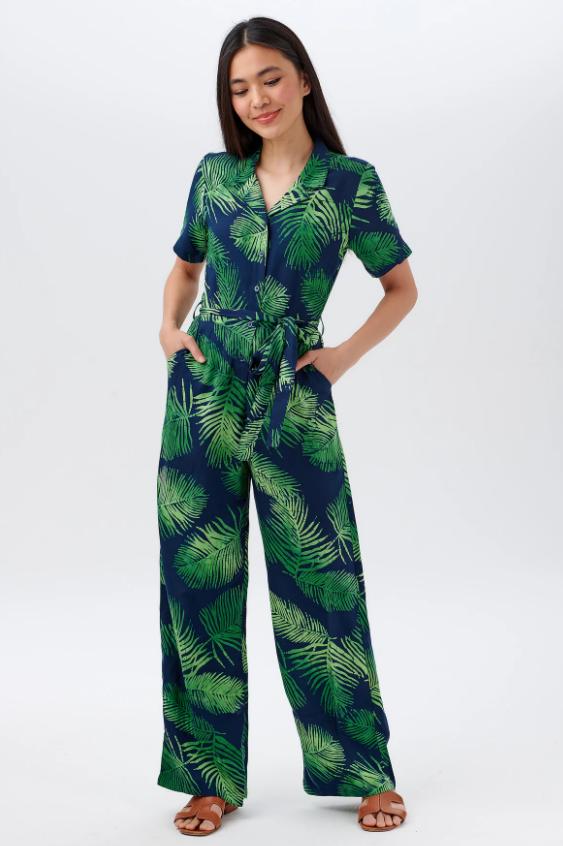 Sugarhill Brighton - Hazel Batik Jumpsuit Navy Palm