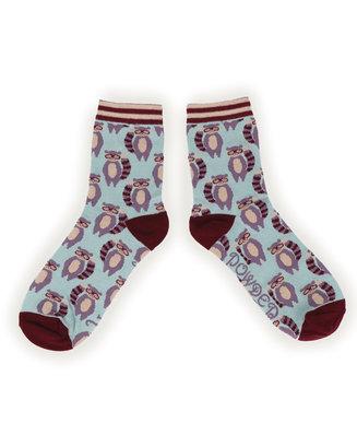 Powder Ankle Socks - Racoon Raider L