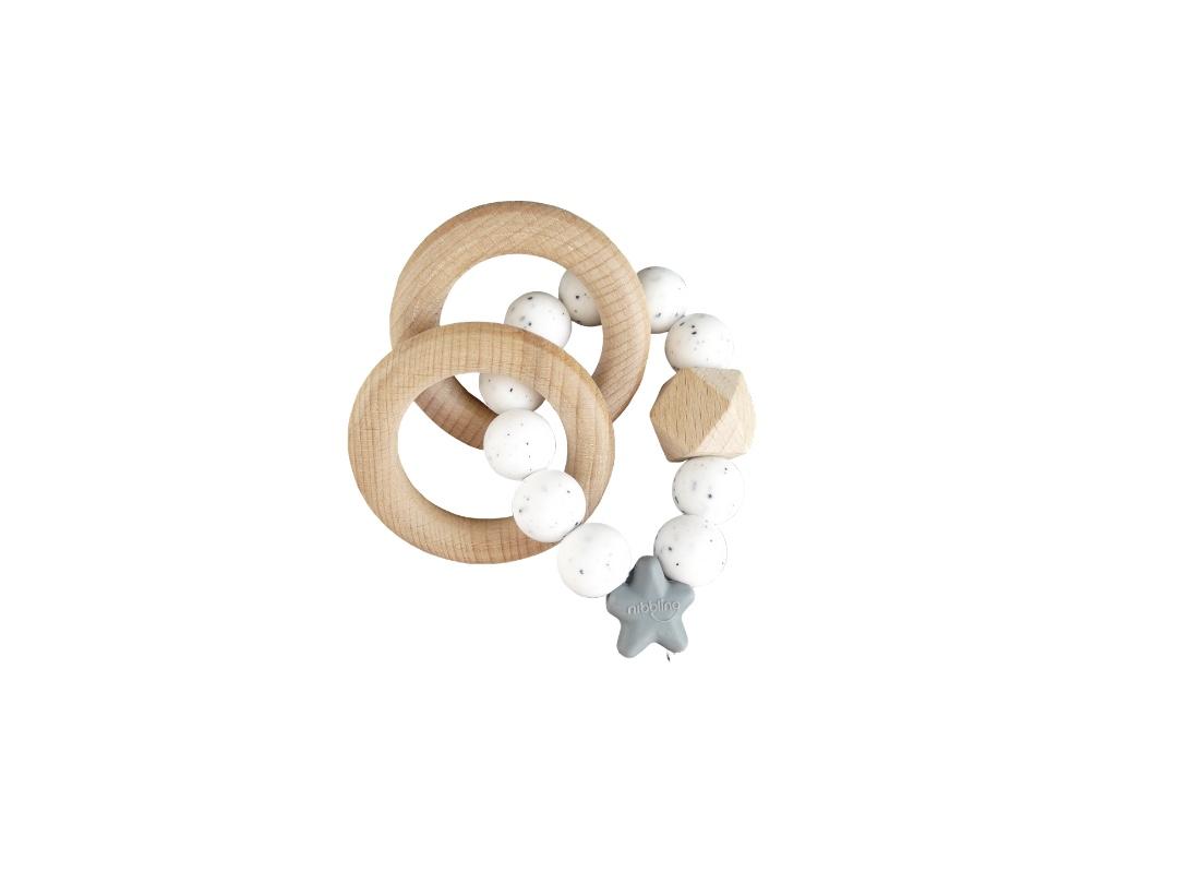 Rattle Ring - White + Grey Star