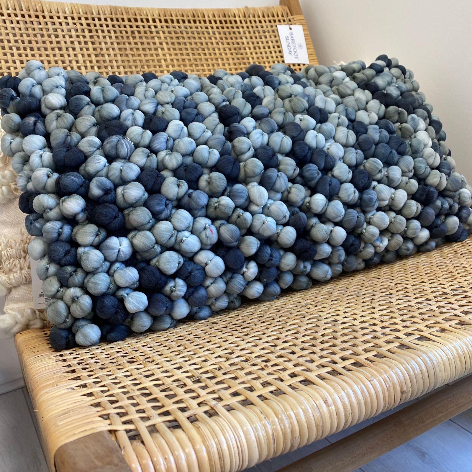 Blue Pebble Cushion - Rectangle