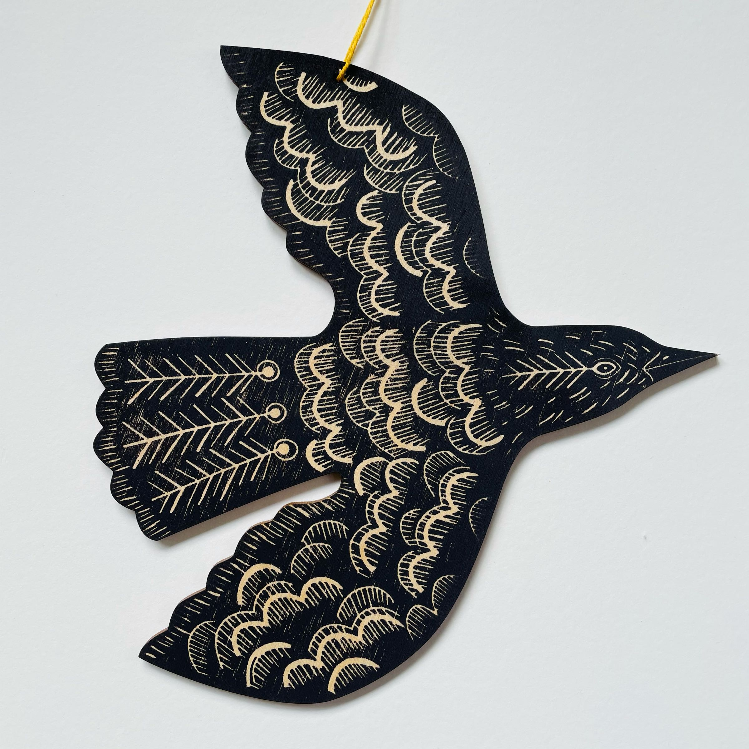 Hanging Blackbird by Kate Millbank, Dark purple-black