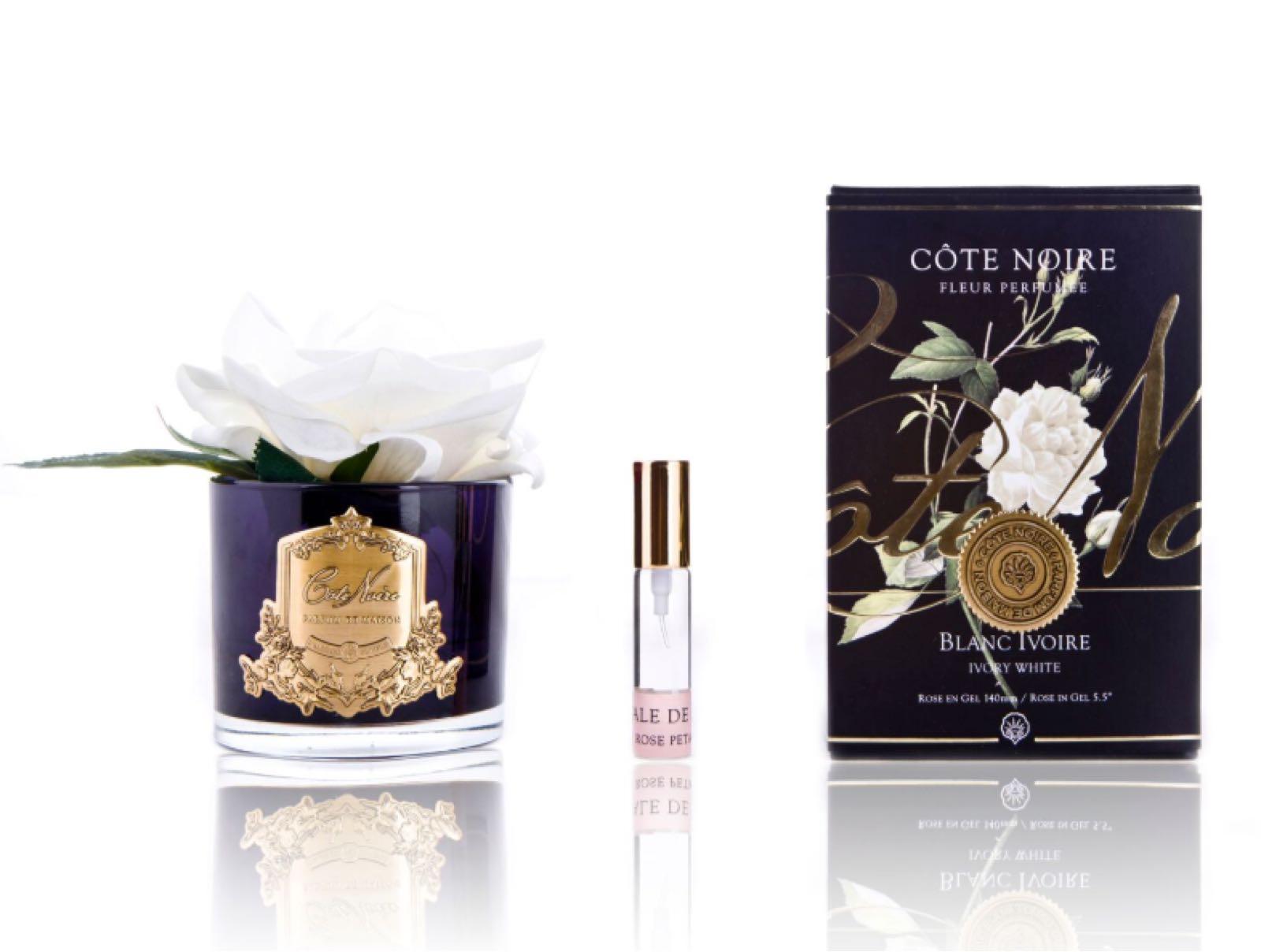 Cote noire black vase with medium Ivory fragrances rose