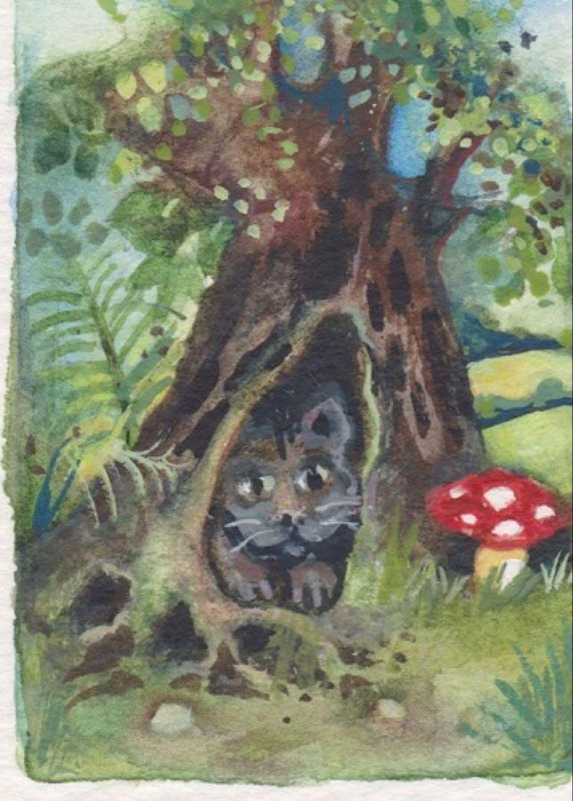 'Cat in the Tree' Furzedown Gallery Mini Card