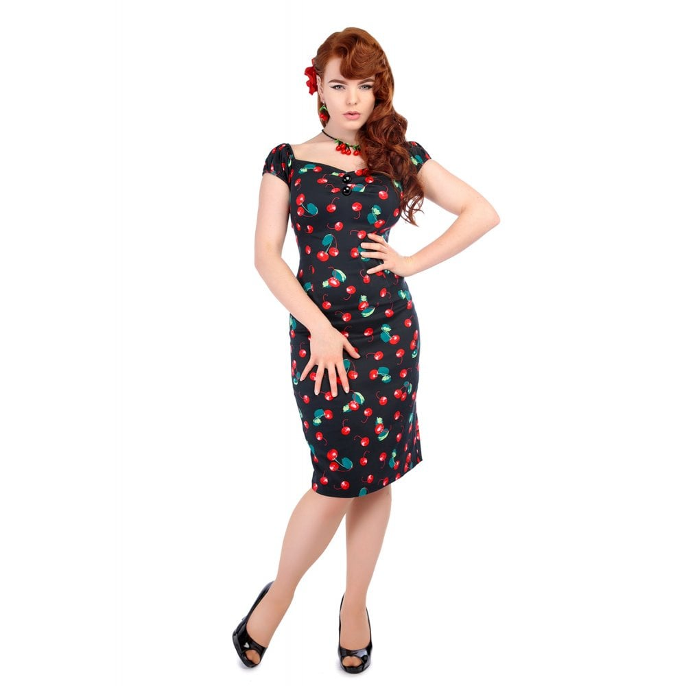 DOLORES 50S CHERRY PRINT PENCIL DRESS
