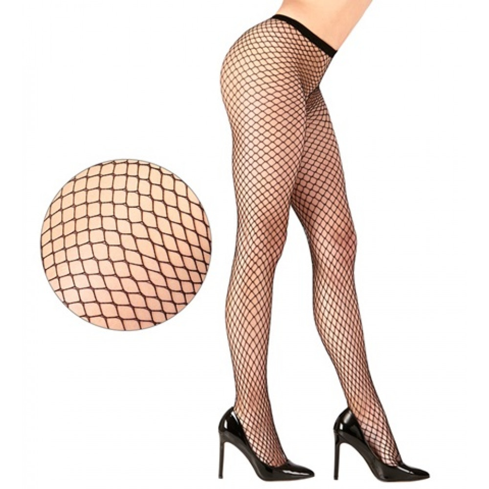 BLACK WIDE FISHNET PANTYHOSE