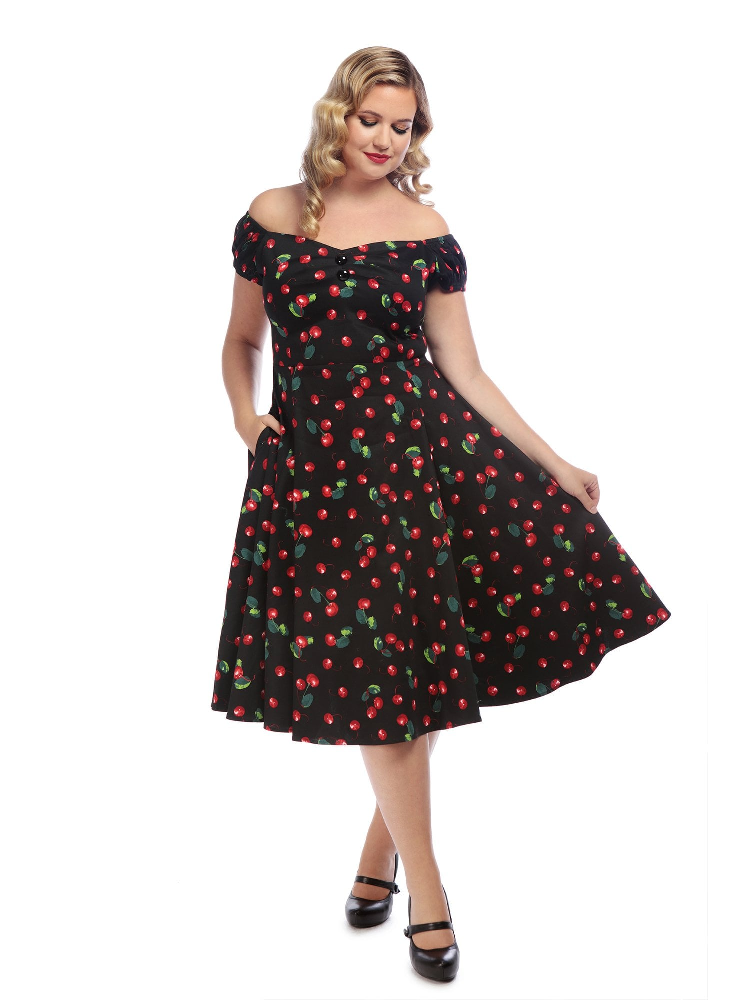 DOLORES DOLL 50S CHERRY PRINT DRESS